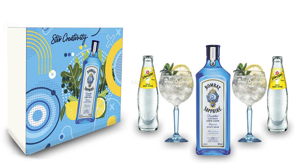 Bombay Sapphire Tonic Geschenkset - Bombay Sapphire London Dry Gin 0,7L (40% Vol) + 2er Set Ballon Glas + 2x Schweppes Tonic Water 200ml inkl. Pfand MEHRWEG - [Enthält Sulfite]
