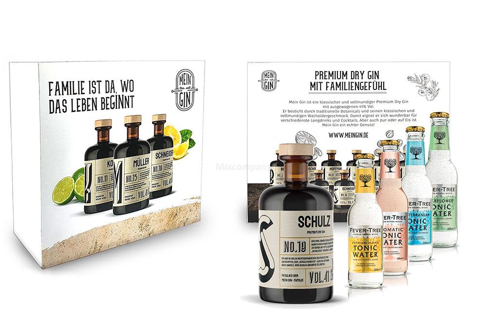 Mein Gin + Tonic Giftbox Geschenkset - Schulz Premium Dry Gin 0,5l (41% Vol) - Schulz s Gin No.19 + 1x Fever-Tree Indian + 1x Aromatic + 1x Mediterranean + 1x Elderflower Tonic Water a 200ml inkl. Pfand MEHRWEG -[Enthält