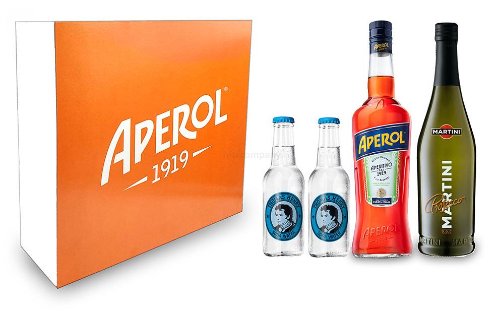 Aperol Spritz Schuber Geschenkset - Aperol Aperitivo Italiano 1L (11% Vol) + Prosecco 0,7L (10,5% Vol) + 2x Thomas Henry Soda Water 0,2L (inkl. Pfand MEHRWEG) + Aperol Giftbox - [Enthält Sulfite]