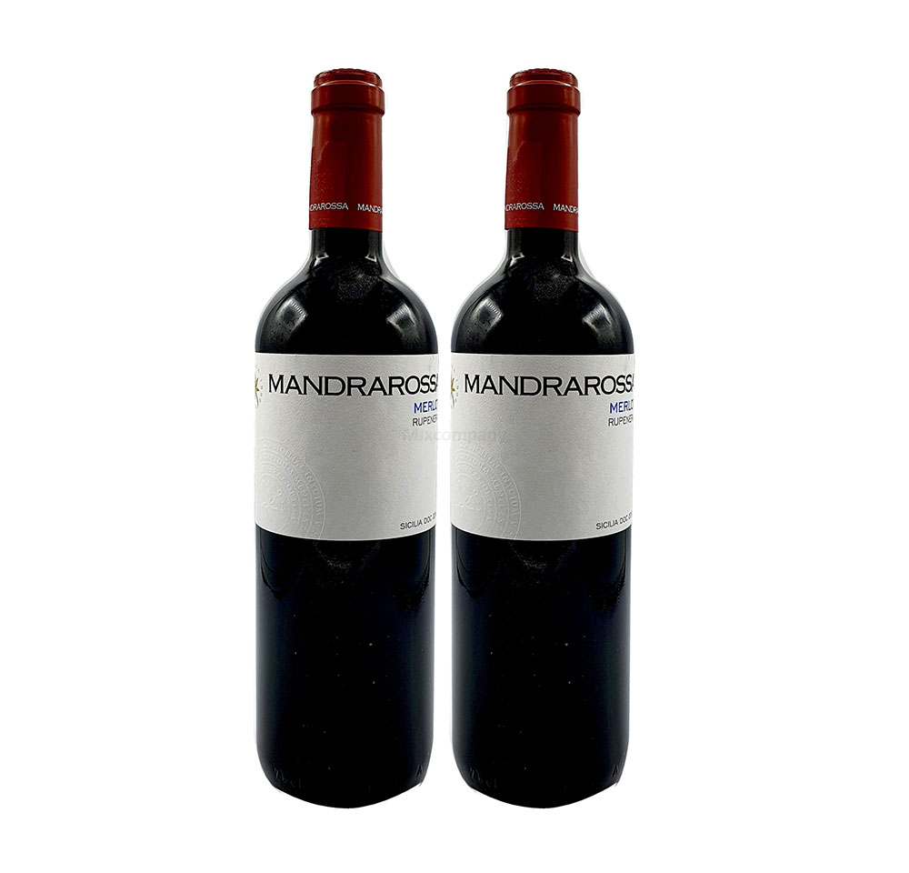 Mandrarossa Rotwein - 2er Set - 2x 0,75L (13,5% Vol) - Merlot Rupenera - Italien - [Enthält Sulfite]