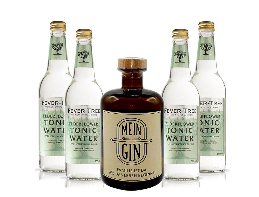 Mein Gin - Premium Dry Gin 0,5l (41% Vol) + 4x Fever-Tree Elderflower Tonic Water 500ml inkl. Pfand MEHRWEG- [Enthält Sulfite]