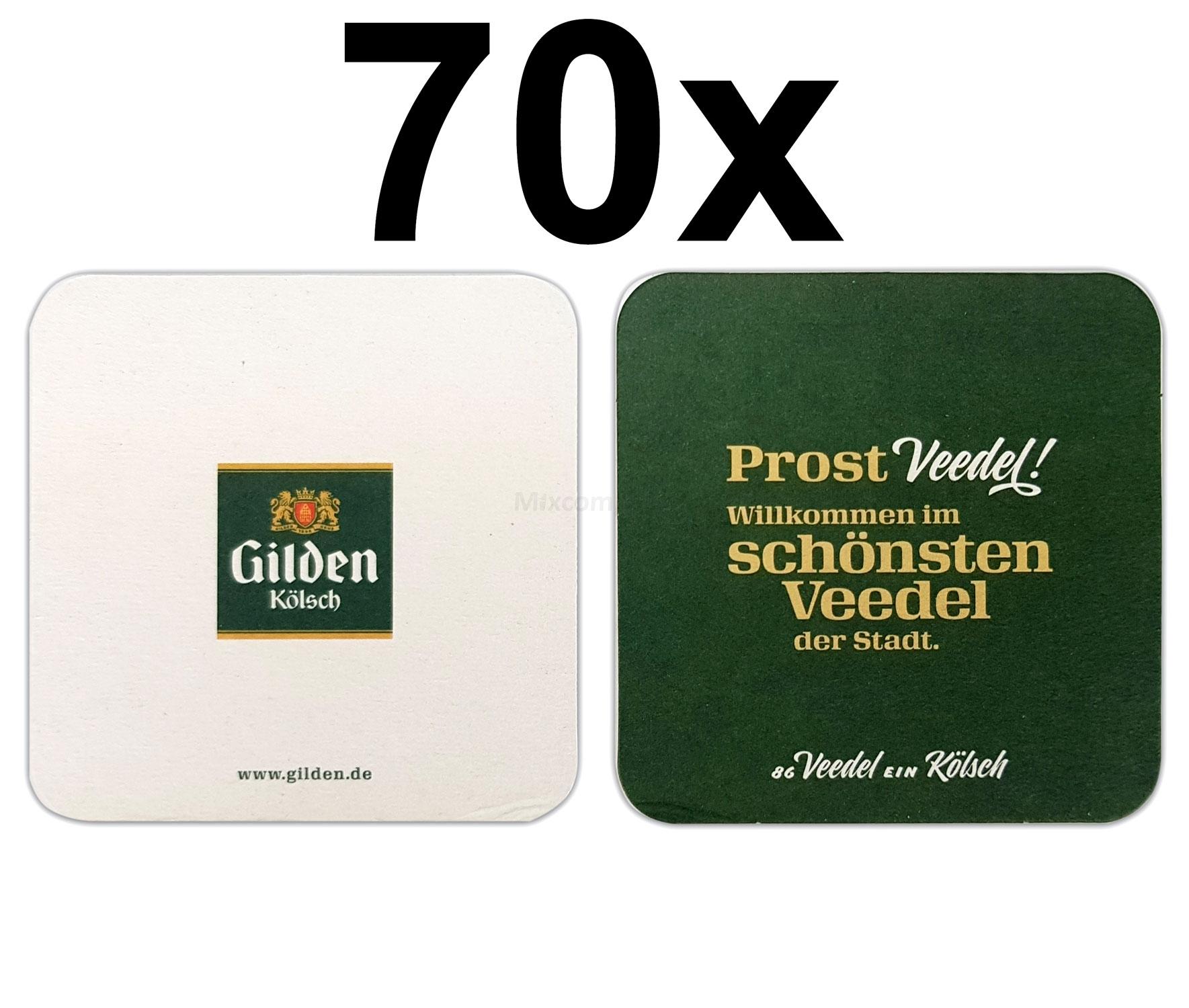 Gilden Kölsch - Prost Veedel - Bierdeckel Untersetzer Bierfilz - 70er Packung
