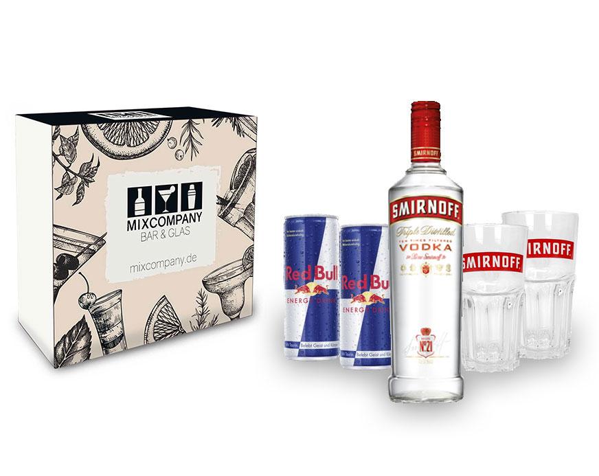 Vodka Red Bull Geschenkset Giftbox Set - Smirnoff Vodka 0,7l 700ml (40% Vol) + 2x Red Bull 250ml (Inkl. Pfand Einweg) + 2x Longdrink Gläser Glas- [Enthält Sulfite]