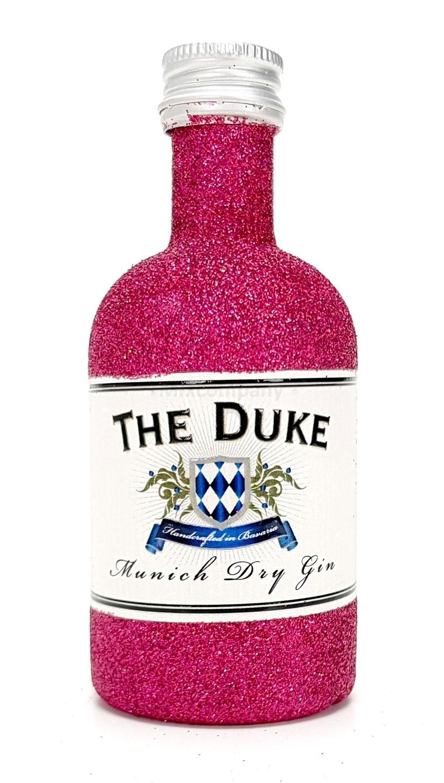 The Duke Munich Dry Gin Mini Mini 50ml (45% Vol) - Bling Bling Glitzer Glitzerflasche Flaschenveredelung für besondere Anlässe - Hot Pink -[Enthält Sulfite]