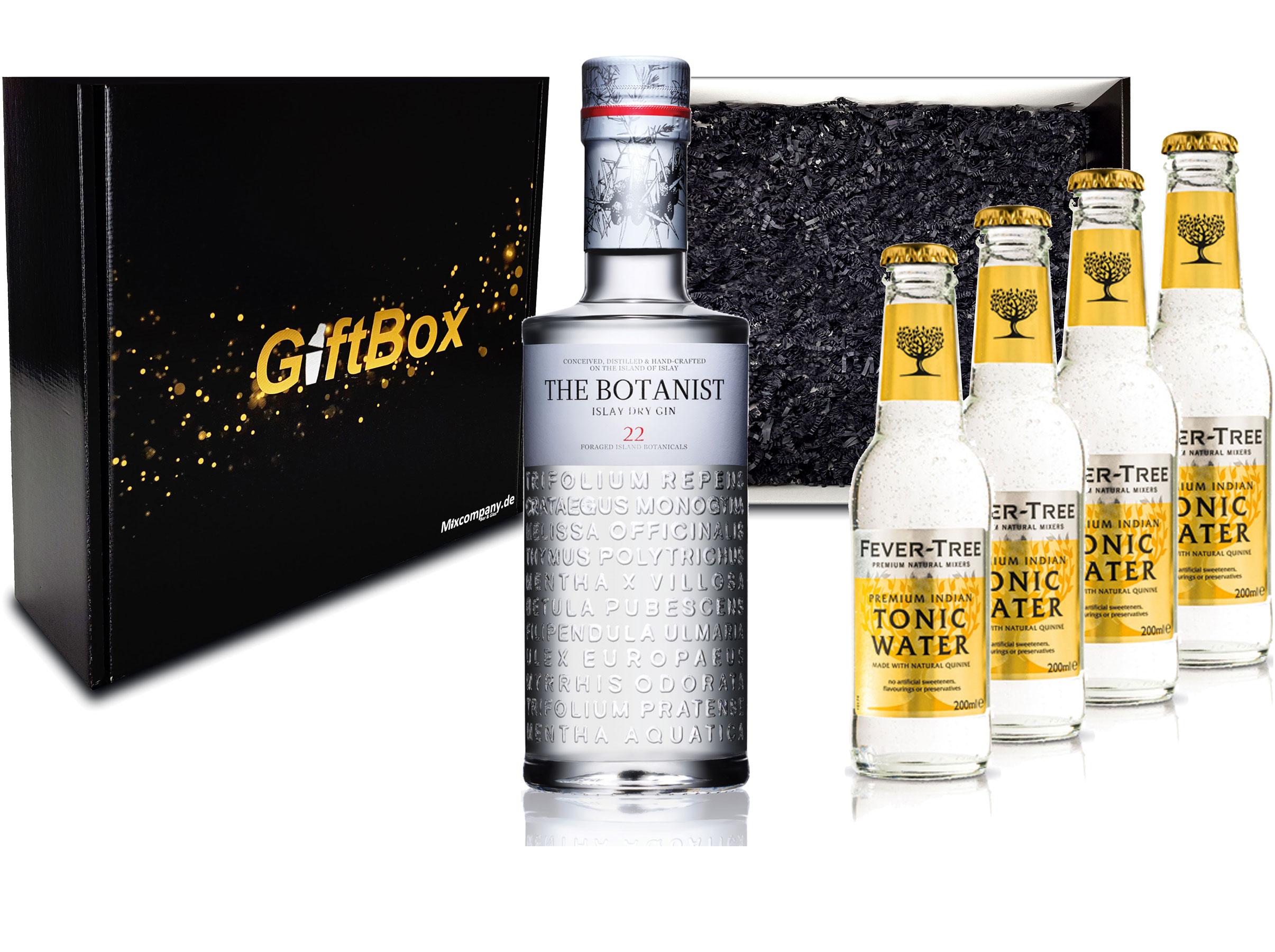 Gin Tonic Giftbox Geschenkset - The Botanist Islay Dry Gin 0,7l 700ml (46% Vol) + 4x Fever Tree Tonic Water 200ml inkl. Pfand MEHRWEG + Geschenkverpackung