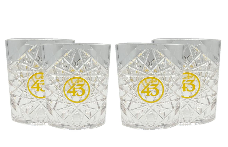 Licor 43 Tumbler 4er Set Gläser aus Acryl Kristallmuster mit Logo Likör Liquor 43er