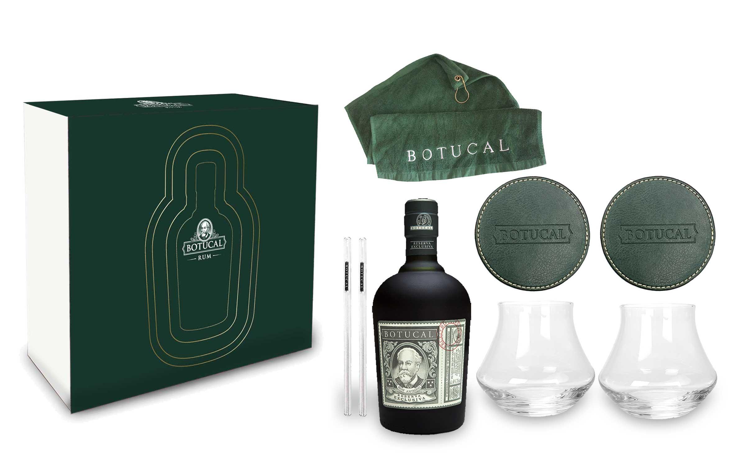 Botucal Schuber Geschenkset Reserva Exclusiva Rum 0,70l (40% Vol) mit 2 Botucal Tumbler Gläser + 2x Untersetzer + 2 Glashalme und einem Golfhandtuch Ron de Venezuela Set- [Enthält Sulfite]