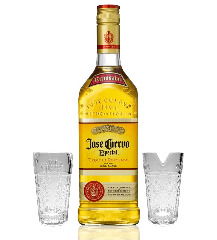 Jose Cuervo Tequila Reposado Especial 0,7l 700ml (38% Vol) + 2x Shotgläser 2/4cl geeicht mit Limettenhalter -[Enthält Sulfite]
