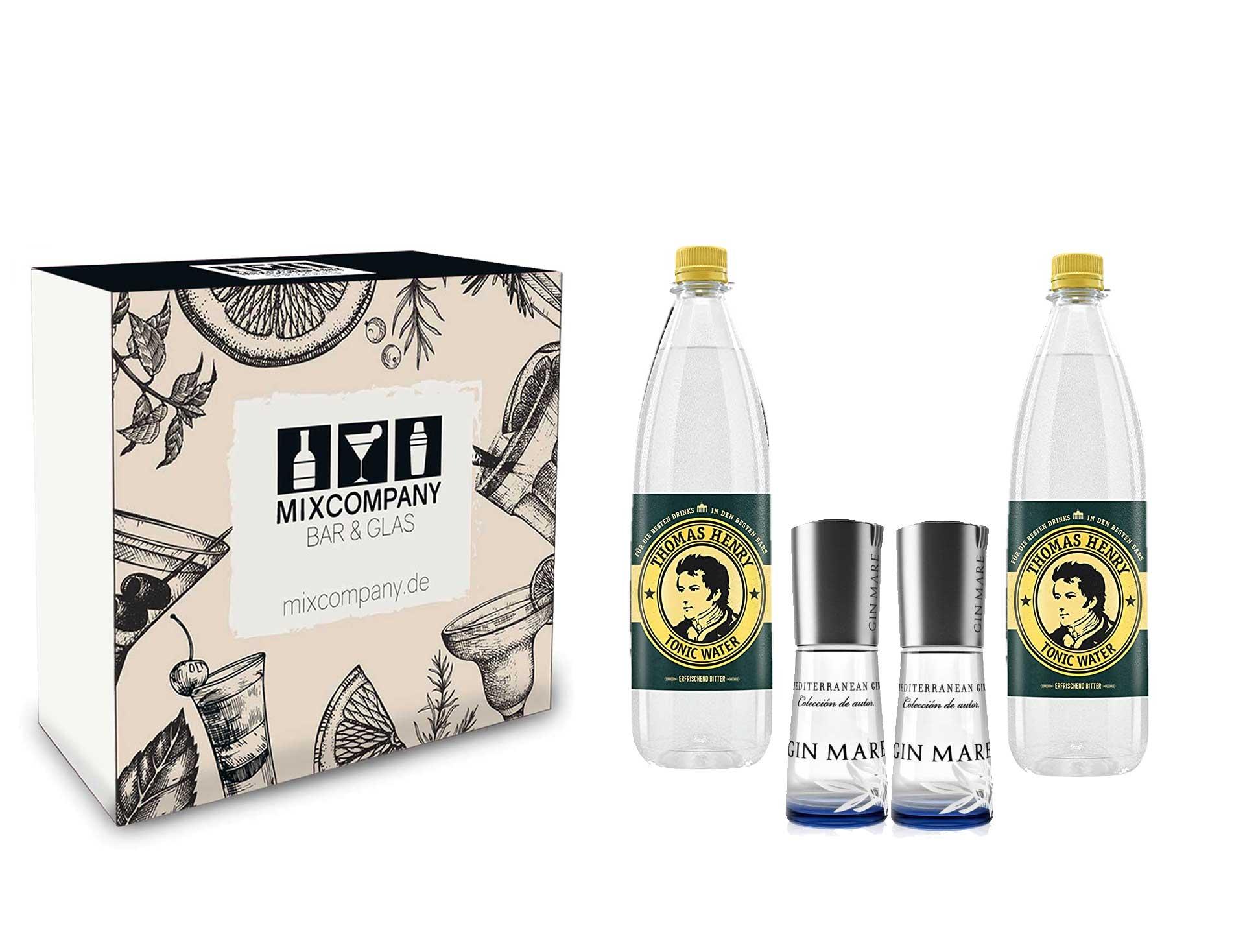 Gin Mare Gin tonic Set / Geschenkset - 2x Gin Mare Mediterranean Miniatur 100ml (42,7% vol ) + 2x Thomas Henry Tonic Water 1000ml - Inkl. Pfand MEHRWEG