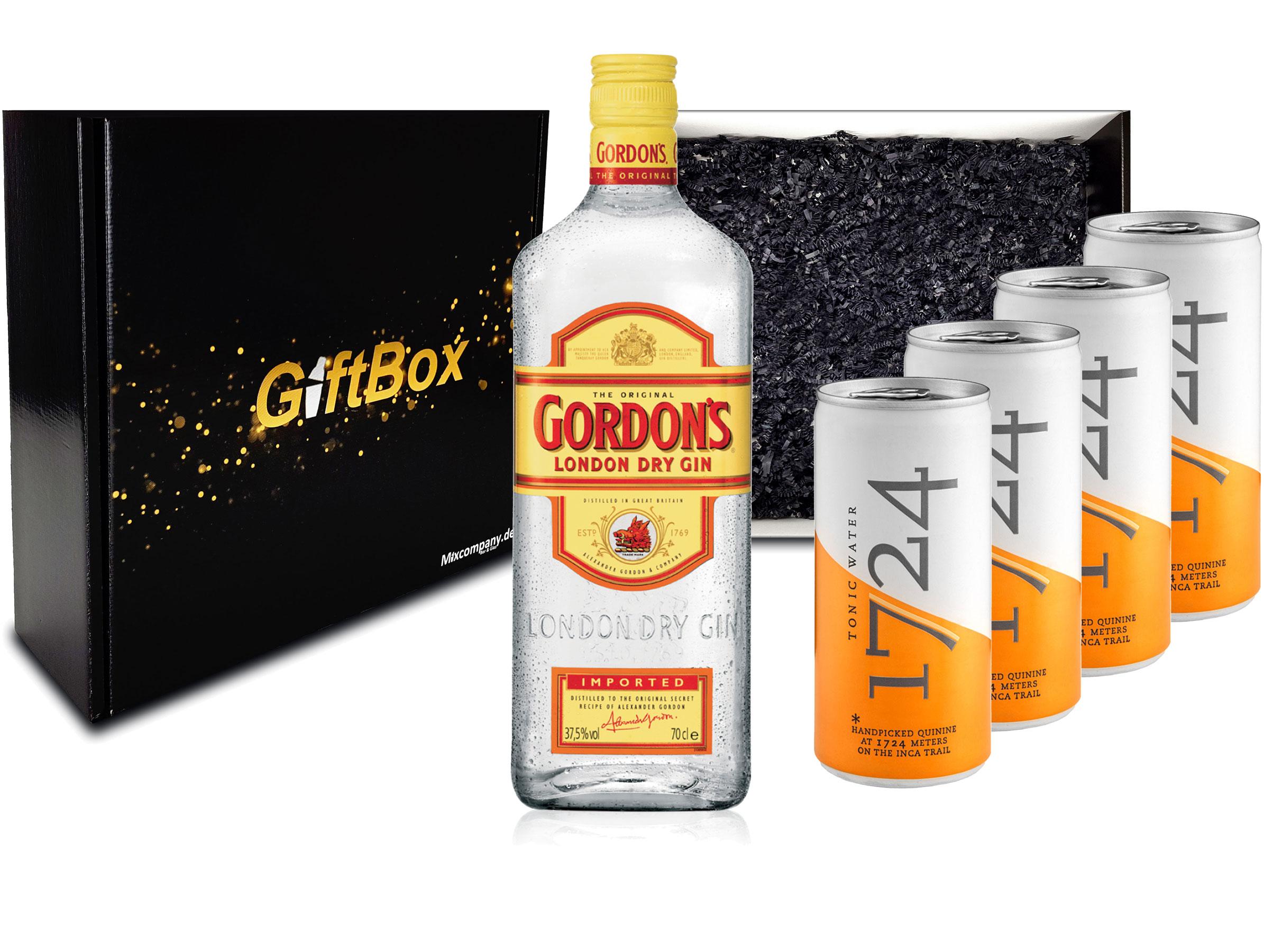 Gin Tonic Set Giftbox Geschenkset - Gordons London Dry Gin 0,7l 700ml (37,5% Vol) + 4x 1724 Tonic Water Dose 200ml inkl. Pfand EINWEG -[Enthält Sulfite]