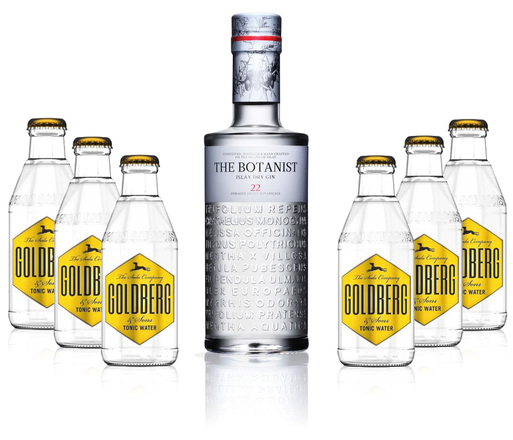 Gin Tonic Set - The Botanist Islay Dry Gin 0,7l 700ml (46% Vol) + 6x Goldberg Tonic Water 200ml inkl. Pfand MEHRWEG