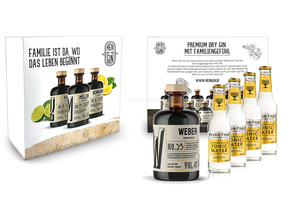 Mein Gin + Tonic Giftbox Geschenkset - Weber Premium Dry Gin 0,5l (41% Vol) - Weber s Gin No.25 + 4x Fever-Tree Indian Tonic Water 200ml inkl. Pfand MEHRWEG -[Enthält Sulfite]