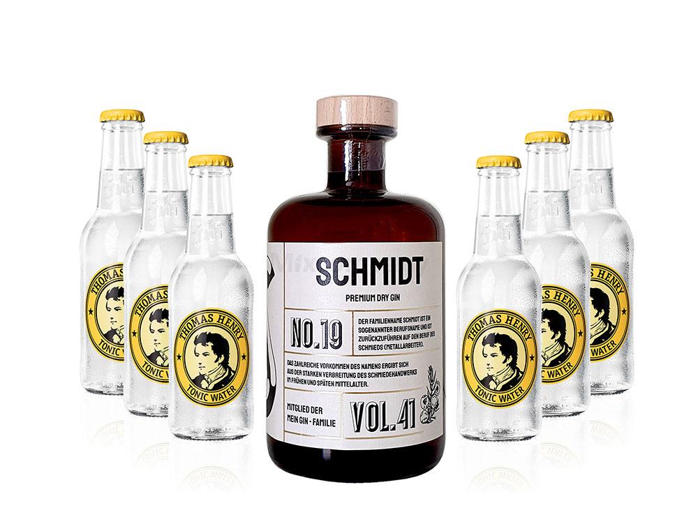 Mein Gin - Schäfer Premium Dry Gin 0,5l (41% Vol) - Schäfer s Gin No.19 + 6x Thomas Henry Tonic Water 200ml inkl. Pfand MEHRWEG -[Enthält Sulfite]