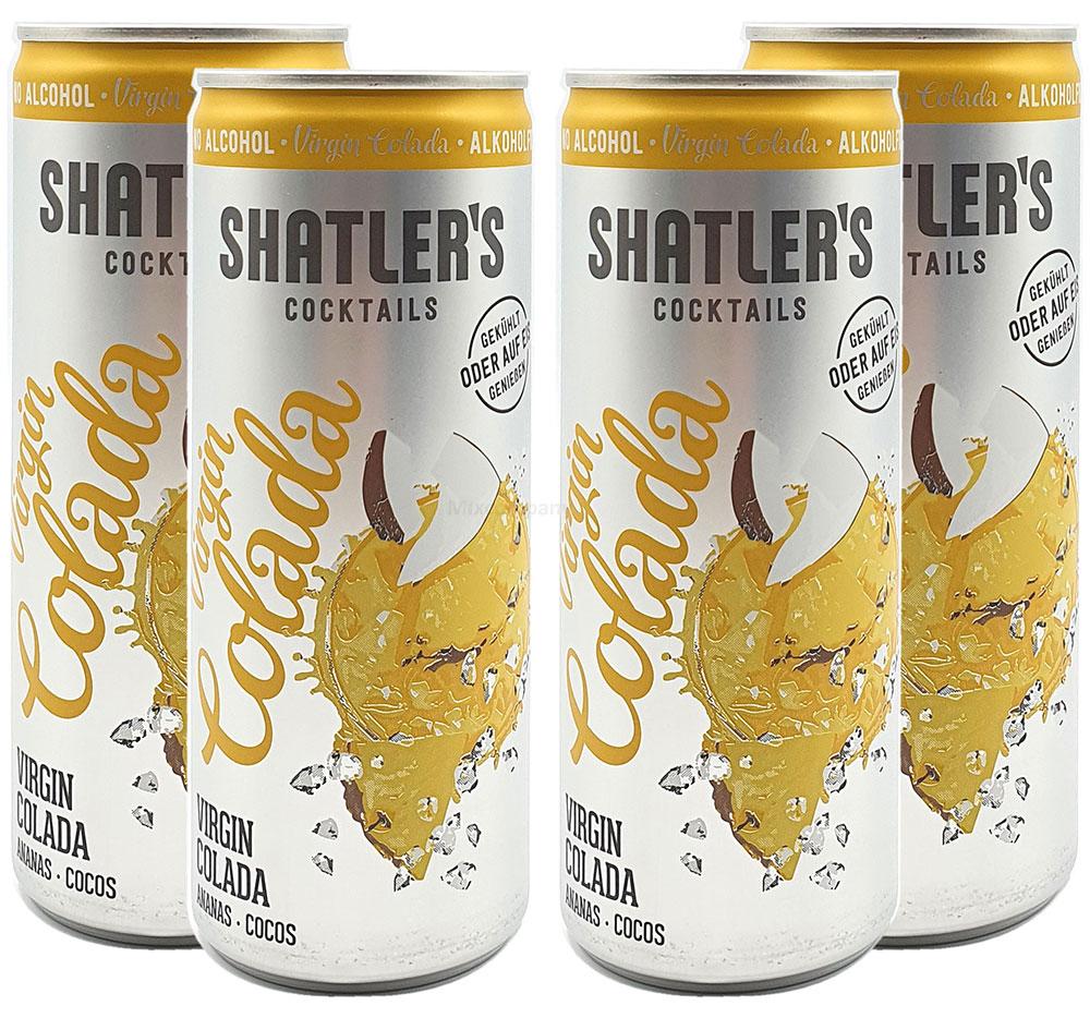 Shatlers Cocktail - 4er Set Shatlers Virgin Colada 0,25L Alkoholfrei - inklusive Pfand EINWEG - Shatlers Cocktail - Ready to Go