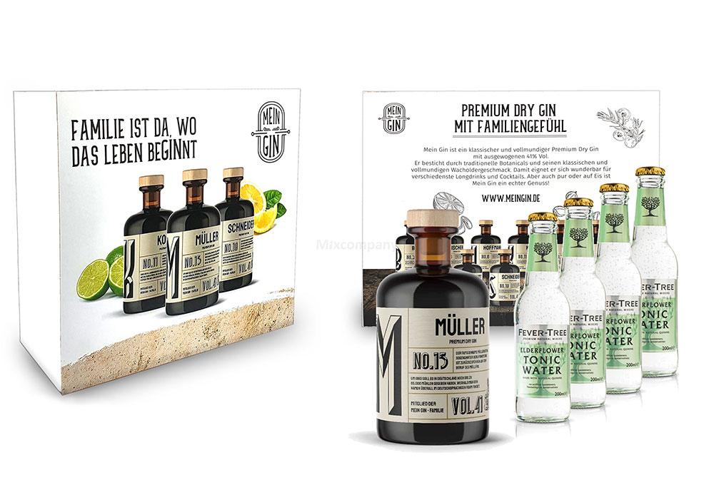 Mein Gin + Tonic Giftbox Geschenkset - Müller Premium Dry Gin 0,5l (41% Vol) - Müller s Gin No.13 + 4x Fever-Tree Elderflower Tonic Water 200ml inkl. Pfand MEHRWEG -[Enthält Sulfite]
