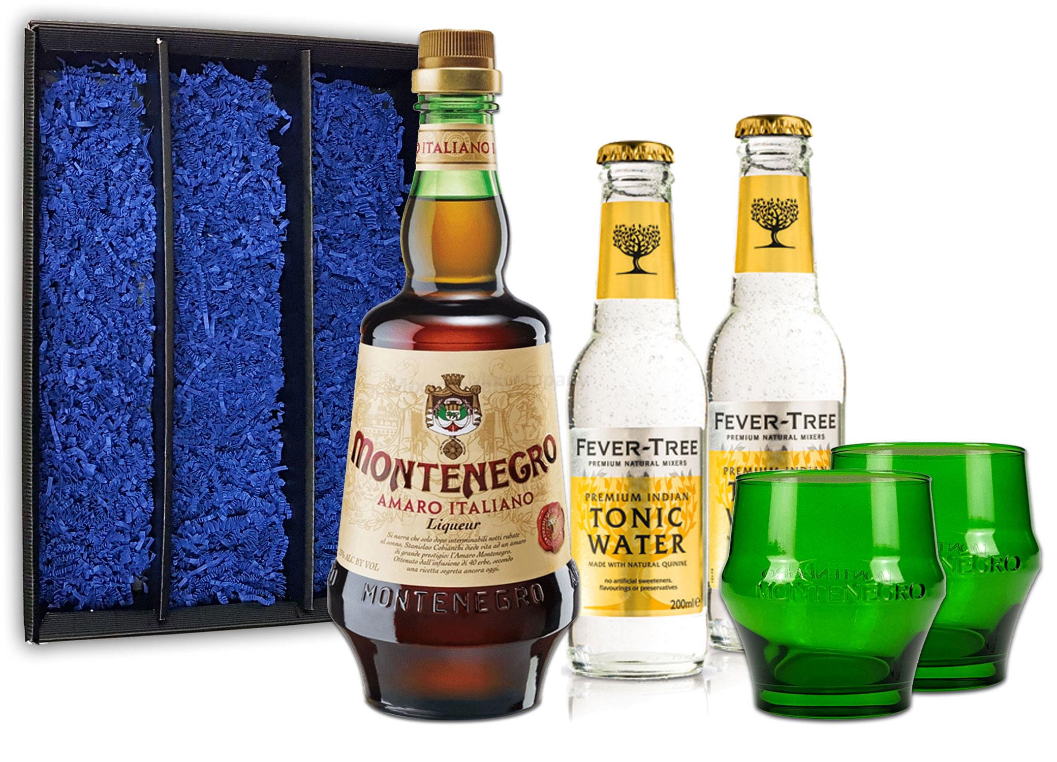 Montenegro & Tonic Geschenkset - Montenegro Amaro Italiano Likör 0,7L (23% Vol) + 2x Fever-Tree Tonic Water 200ml inkl. Pfand MEHRWEG + 2x Gläser Shot Glas grün