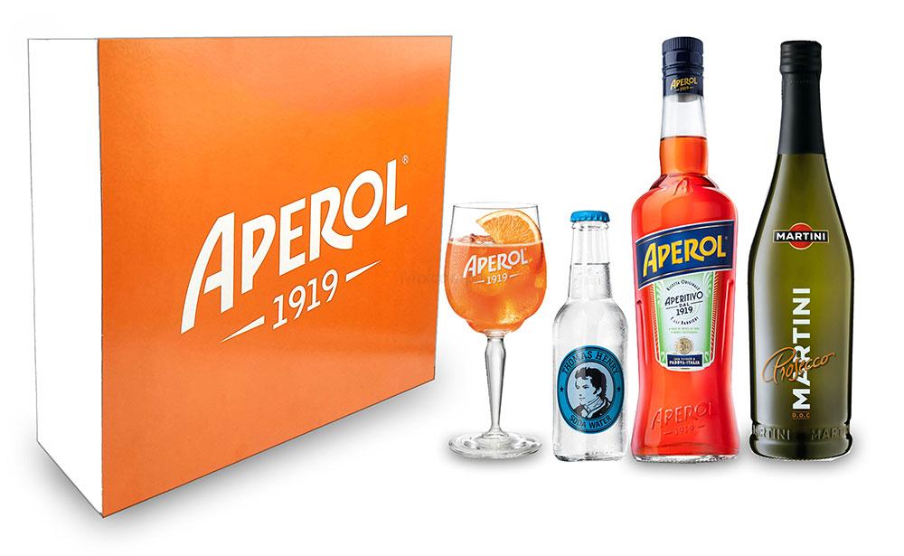 Aperol Spritz Geschenkset - Aperol Aperitivo Italiano 1L (11% Vol) + Prosecco 0,7L (10,5% Vol) + Aperol 1919 Glas + Thomas Henry Soda Water 0,2L (inkl. Pfand MEHRWEG) + Giftbox - [Enthält Sulfite]