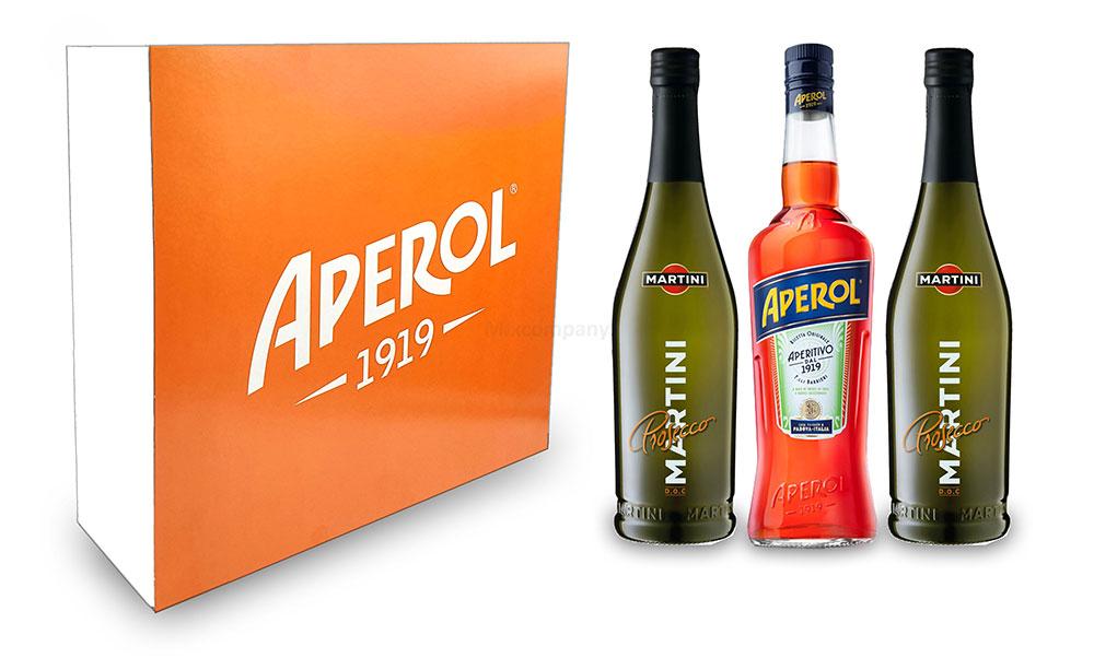 Aperol Spritz Geschenkset - Aperol Aperitivo Italiano 1L (11% Vol) + 2x Prosecco 0,7L (10,5% Vol) + Giftbox - [Enthält Sulfite]