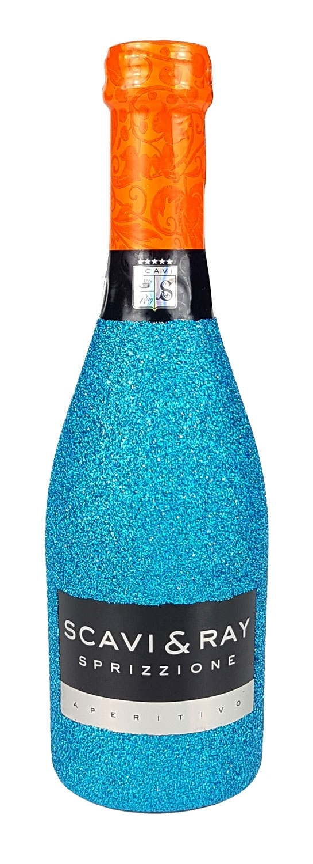 Scavi & Ray Sprizzione Aperitivo 20cl (8% Vol) - Bling Bling Glitzerflasche in blau -[Enthält Sulfite]