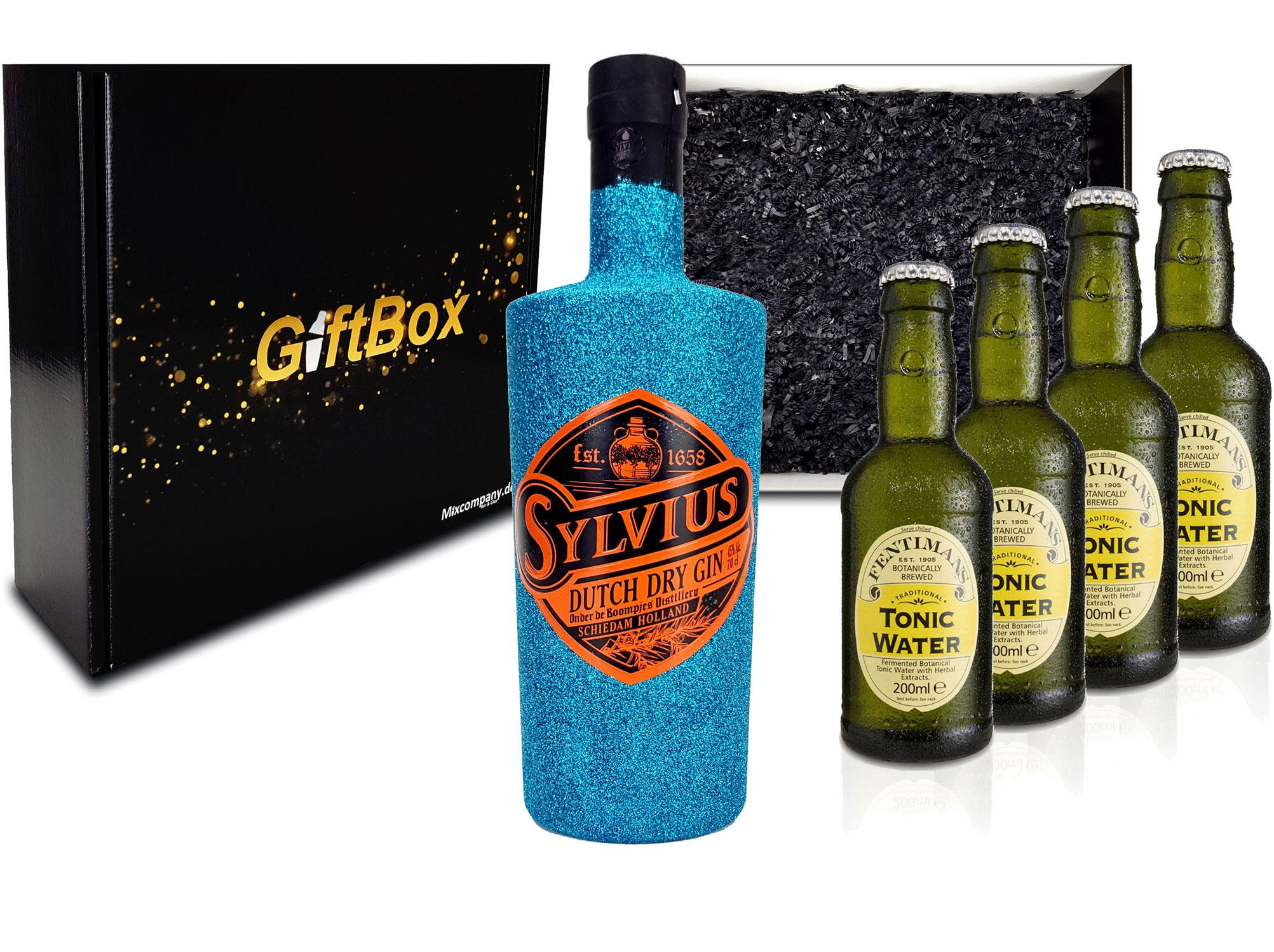 Gin Tonic Giftbox Geschenkset - Sylvius Dutch Gin Bling Bling Glitzerflasche Blau 0,7l 700ml (45% Vol) + 4x Fentimans Tonic Water 200ml inkl. Pfand MEHRWEG - [Enthält Sulfite]