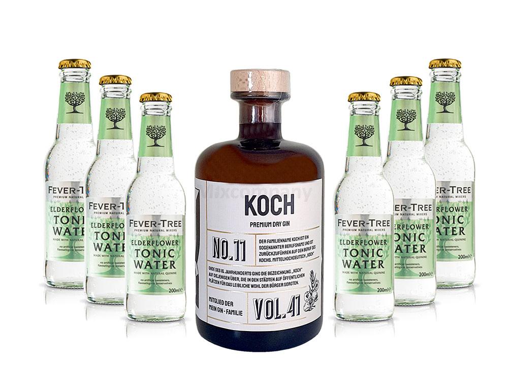 Mein Gin - Koch Premium Dry Gin 0,5l (41% Vol) - Koch s Gin No.11 + 6x Fever-Tree Elderflower Tonic Water 200ml inkl. Pfand MEHRWEG -[Enthält Sulfite]