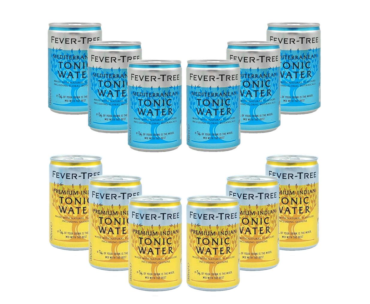 Fever Tree 12er tasting Set 6x Mediterranean 6x Indian Tonic Water 12x 150ml Dose inkl. Pfand EINWEG
