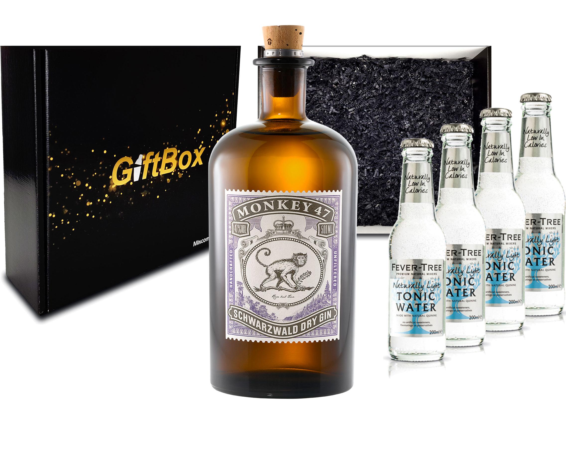 Gin Tonic Giftbox Geschenkset - Monkey 47 Schwarzwald Gin 0,5l (47% Vol) + 4x Fever Tree Naturally Light Tonic Water 200ml inkl. Pfand MEHRWEG -[Enthält Sulfite]