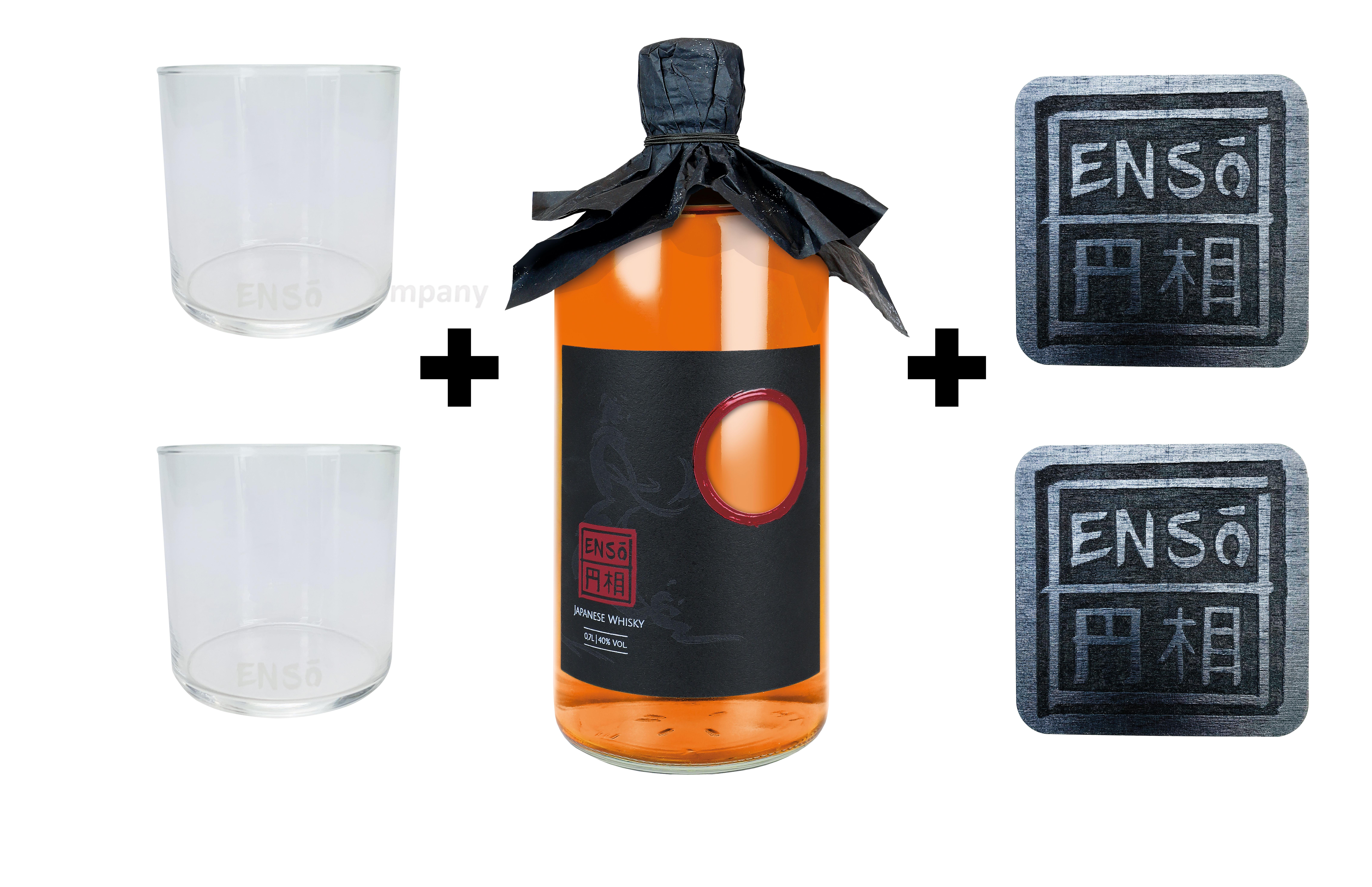 Enso Pot Still Blend Whisky 0,7l (40% Vol) + 2 Tumbler + 2 Untersetzer japanischer Whiskey Glas Gläser Longdrinkglas Untersetzer - [Enthält Sulfite]