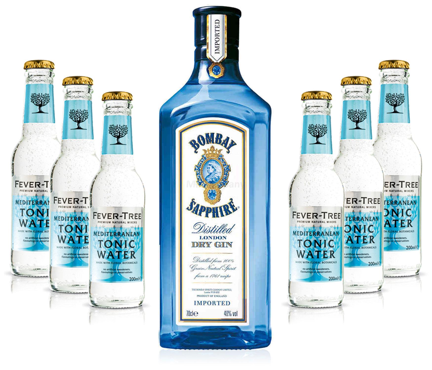 Gin Tonic Set - Bombay Sapphire 0,7l 700ml (40% Vol) + 6x Fever Tree Mediterranean Tonic Water 200ml - Inkl. Pfand MEHRWEG
