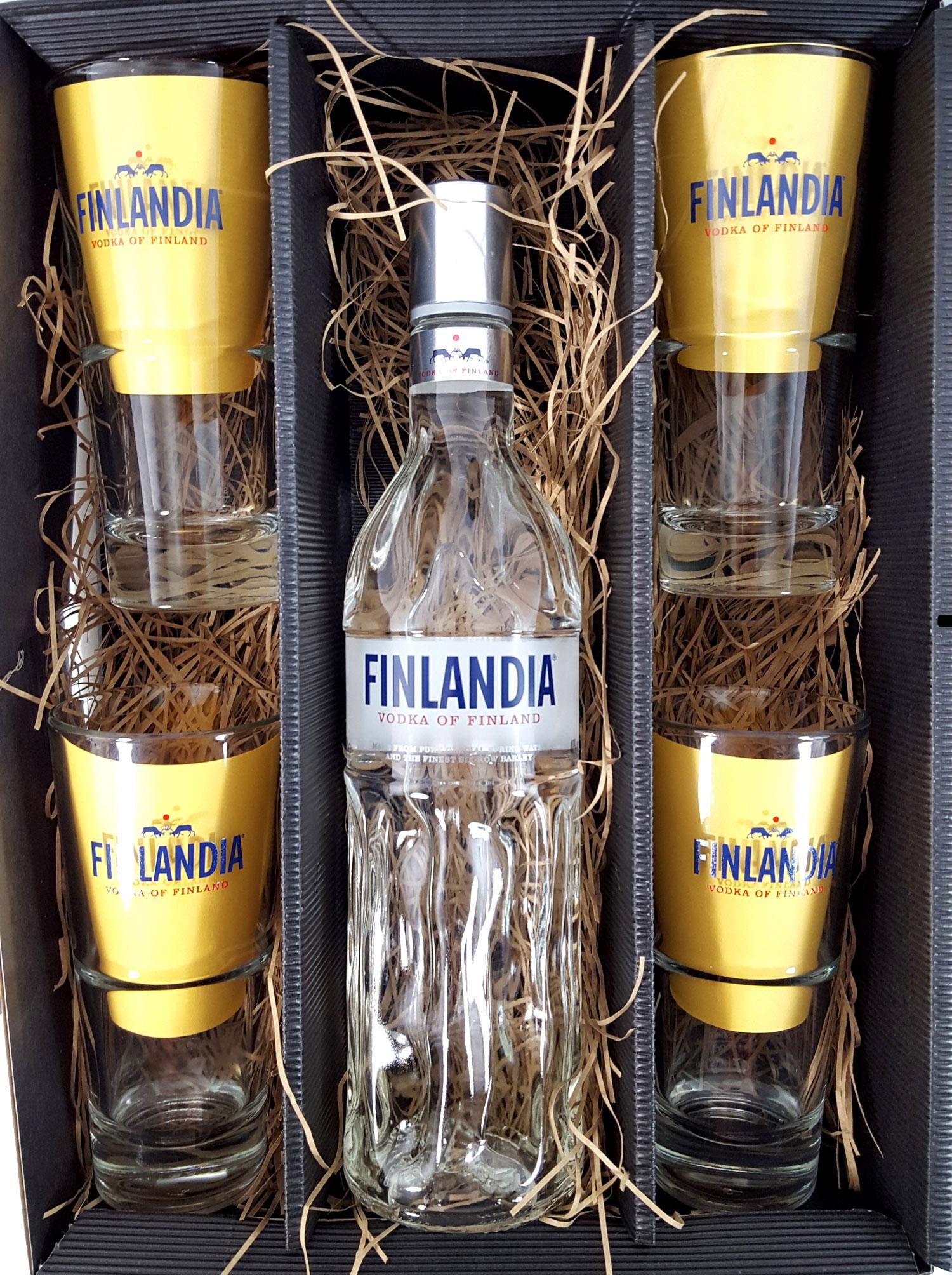 Finlandia Set / Geschenkset - Finlandia Vodka of Finland 1L (40% Vol) + 4x Gläser 2/4cl geeicht