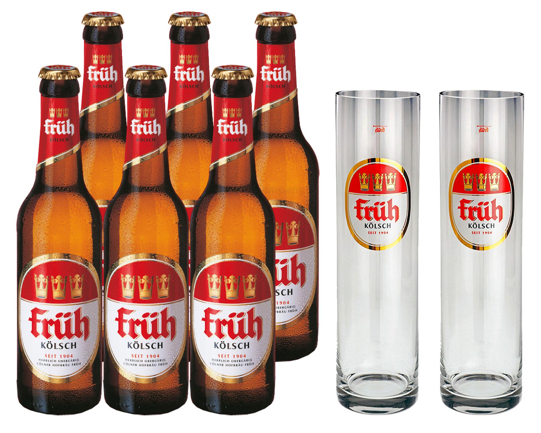 Früh Kölsch Set - 6x Früh Kölsch Bier 0,33L (4,8% Vol) + 2x Biergläser / Stangen 0,2L -[Enthält Sulfite] - Inkl. Pfand MEHRWEG