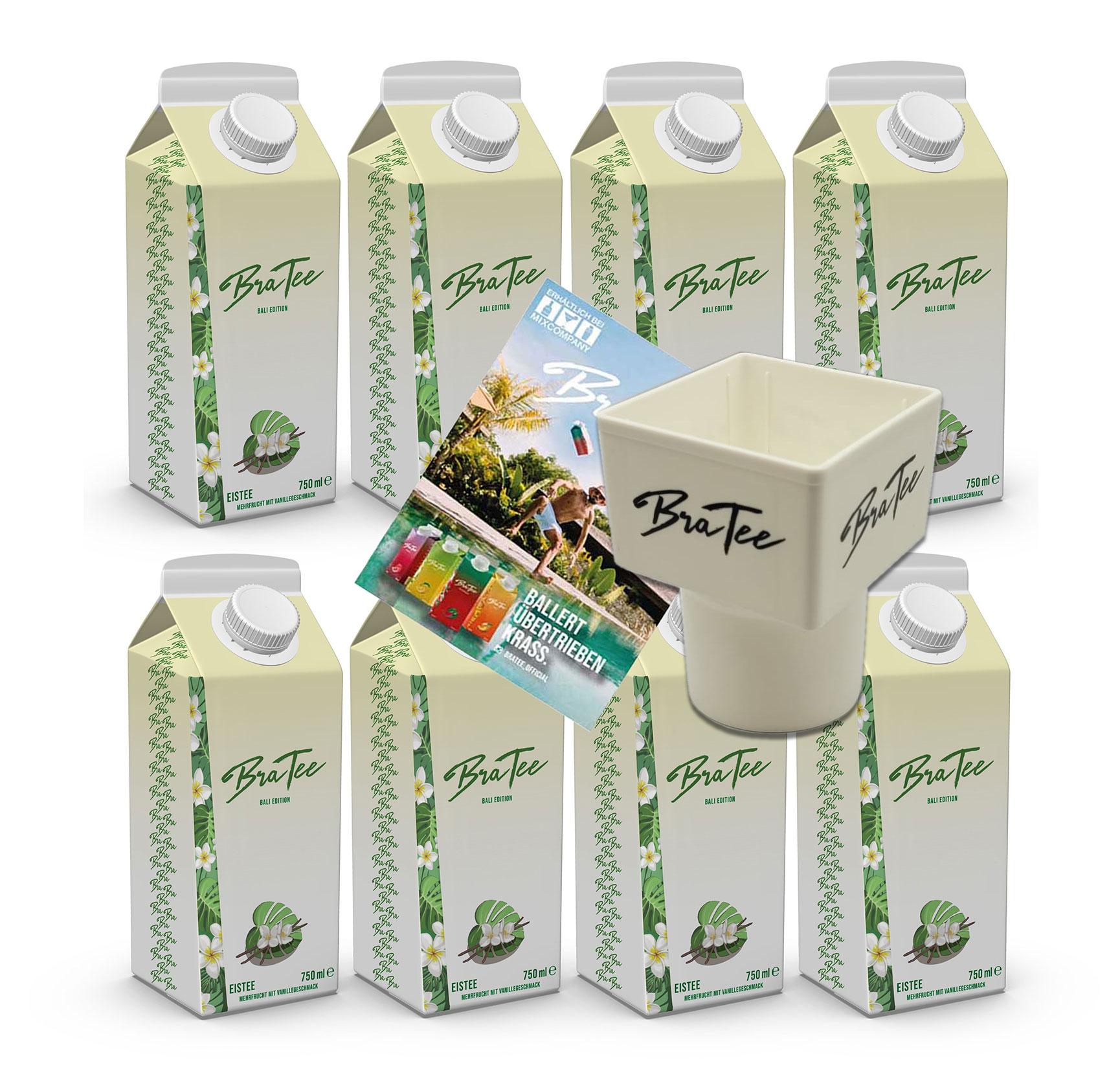 Capital BraTee Bali Edition 8er Set Special Eistee je 750ml + Gratis Getränkehalter +  Autogrammkarte BRATEE Limited Edition Ice tea Mehrfrucht mit Vanillegeschmack mit Capi-Qualitäts-Siegel - Du weisst Bescheid