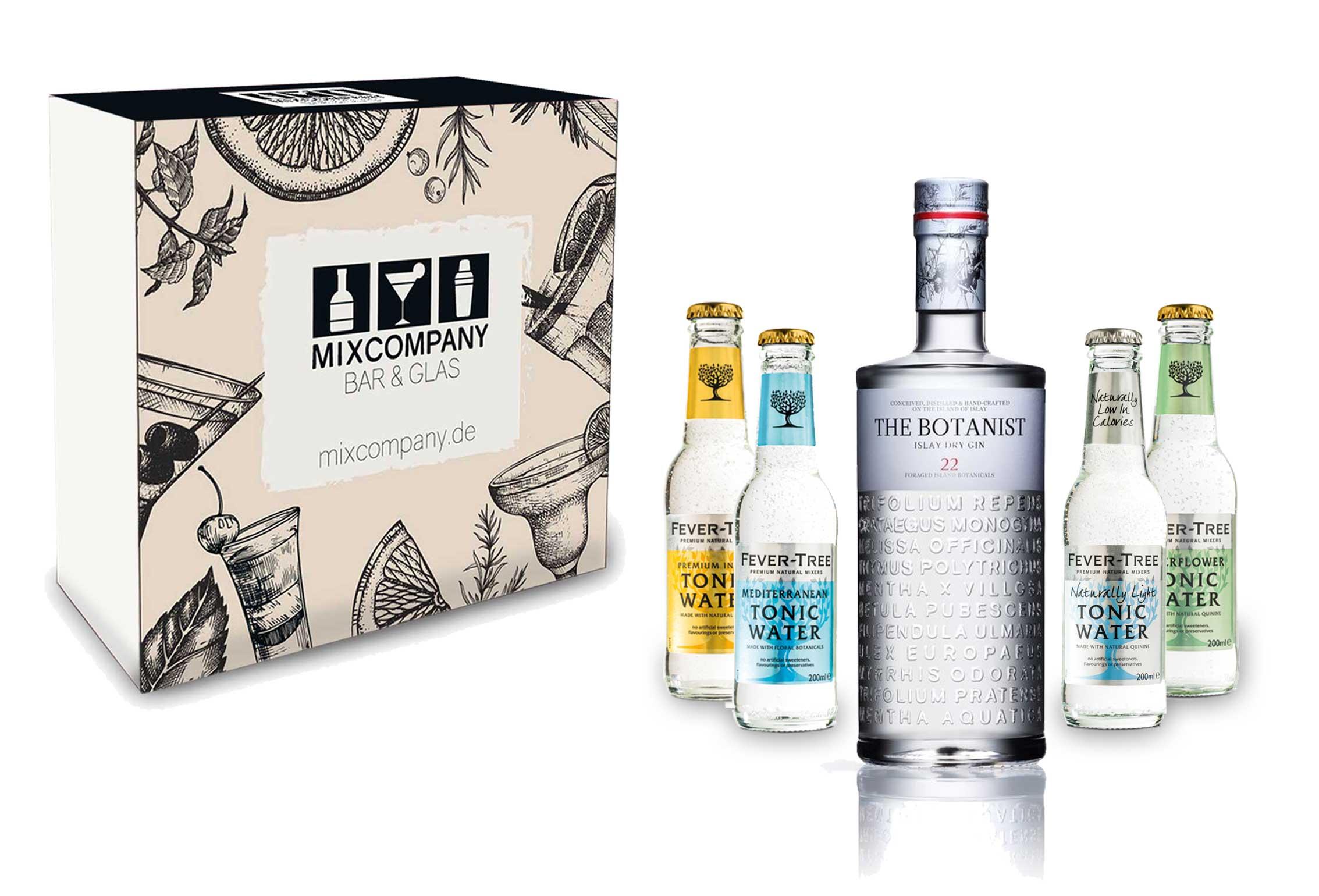 Gin Tonic Set Giftbox Geschenkset - The Botanist Islay Dry Gin 0,7l 700ml (46% Vol) + 4x Fever Tree Tonic Water Mix je 200ml inkl. Pfand MEHRWEG -[Enthält Sulfite]