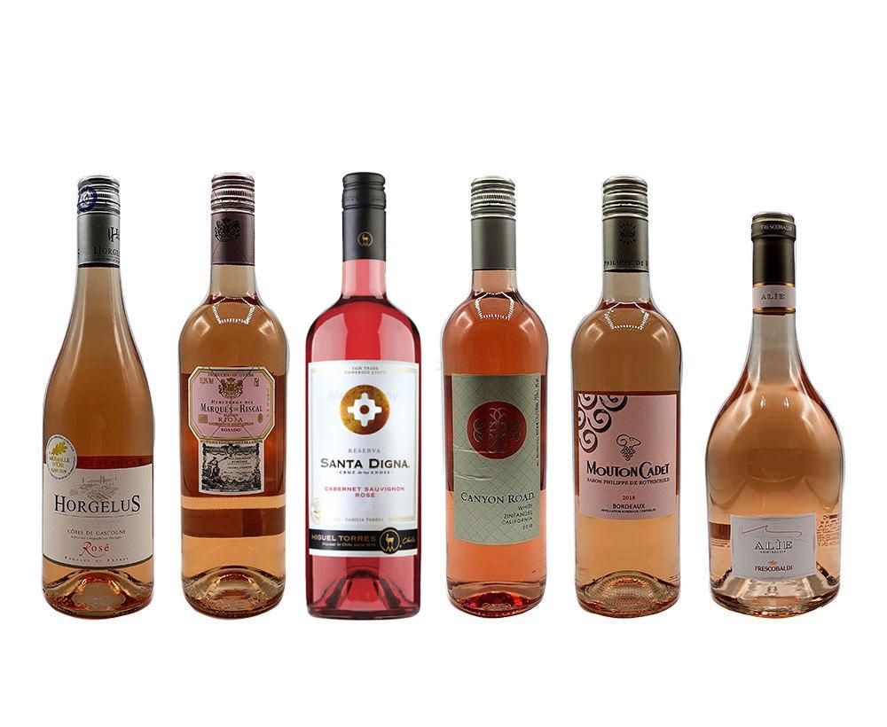 Rose Wein Tasting Set - 6 verschiedene Sorten - Horgelus Rosé 750ml (11,5% Vol) + Marques de Riscal Rosado 750ml (13,5% Vol) + Santa Digna Rose 750ml (13,5% Vol) + Canyon Road Zinfandel 750ml (8% Vol) + Mouton Cadet Bord