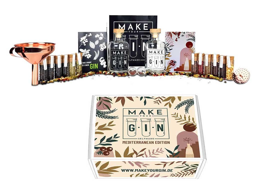 Make Your Gin Geschenkset - MEDITERRANE EDITION Gin zum Selbermachen - Botanicals + Bar Trichter + Anleitung mit Rezept