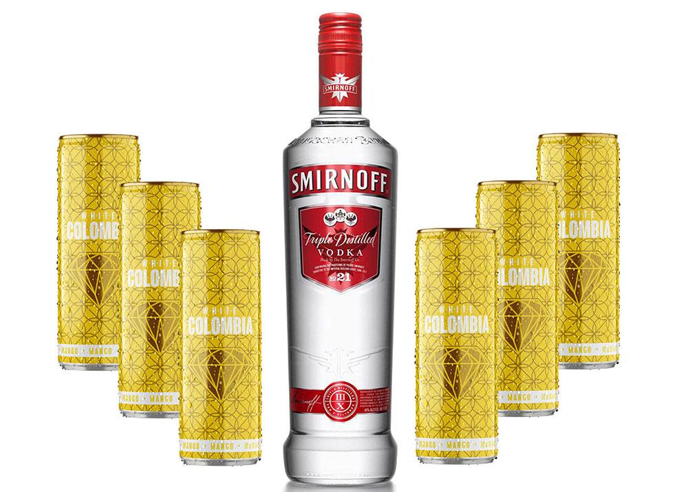 Smirnoff Vodka 0,7l 700ml (40% Vol) + White Colombia Mango Set - Erfrischungsgetränk mit Mango-Maracuja-Geschmack - 6x 250ml inkl. Pfand EINWEG - [Enthält Sulfite]