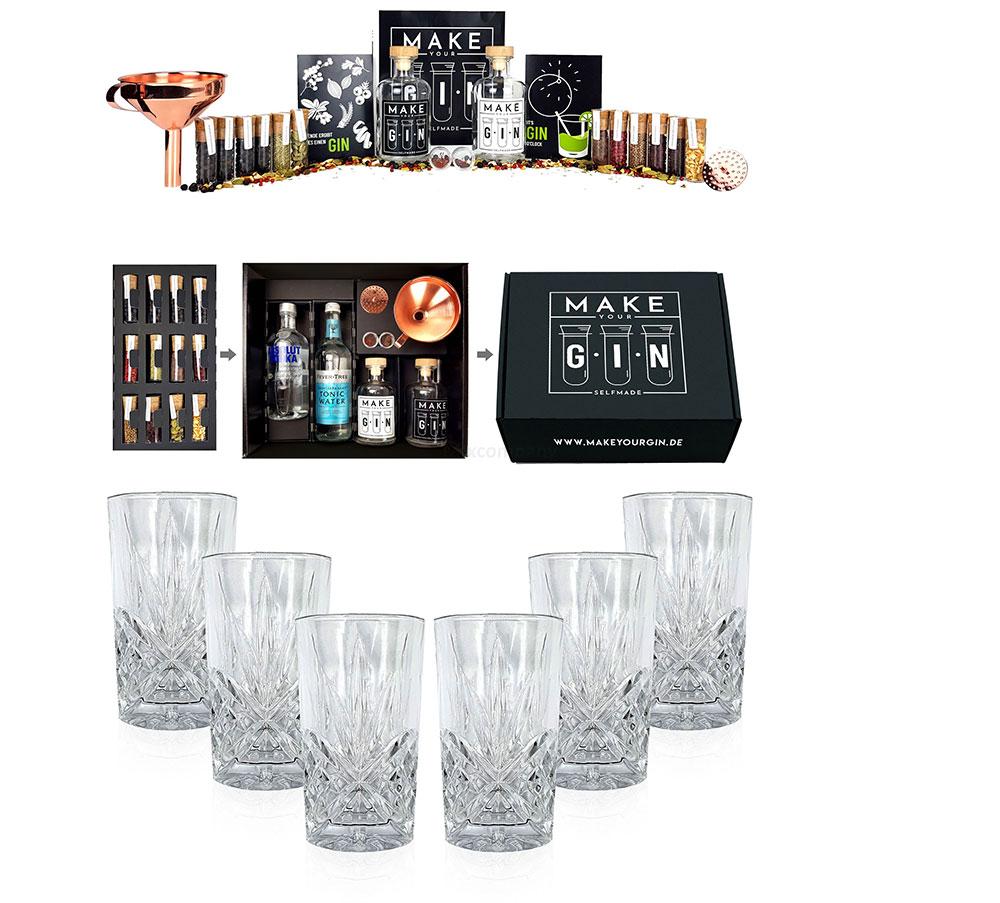 Longdrinkglas in Kristall Optik 6er Set Gläser + Make Your Gin Geschenkset schwarz Geschenkbox Gin zum Selbermachen - Absolut Vodka, Fever-Tree Mediterranean Tonic Water 500ml + Botanicals + Bar Trichter + Anleitung mit