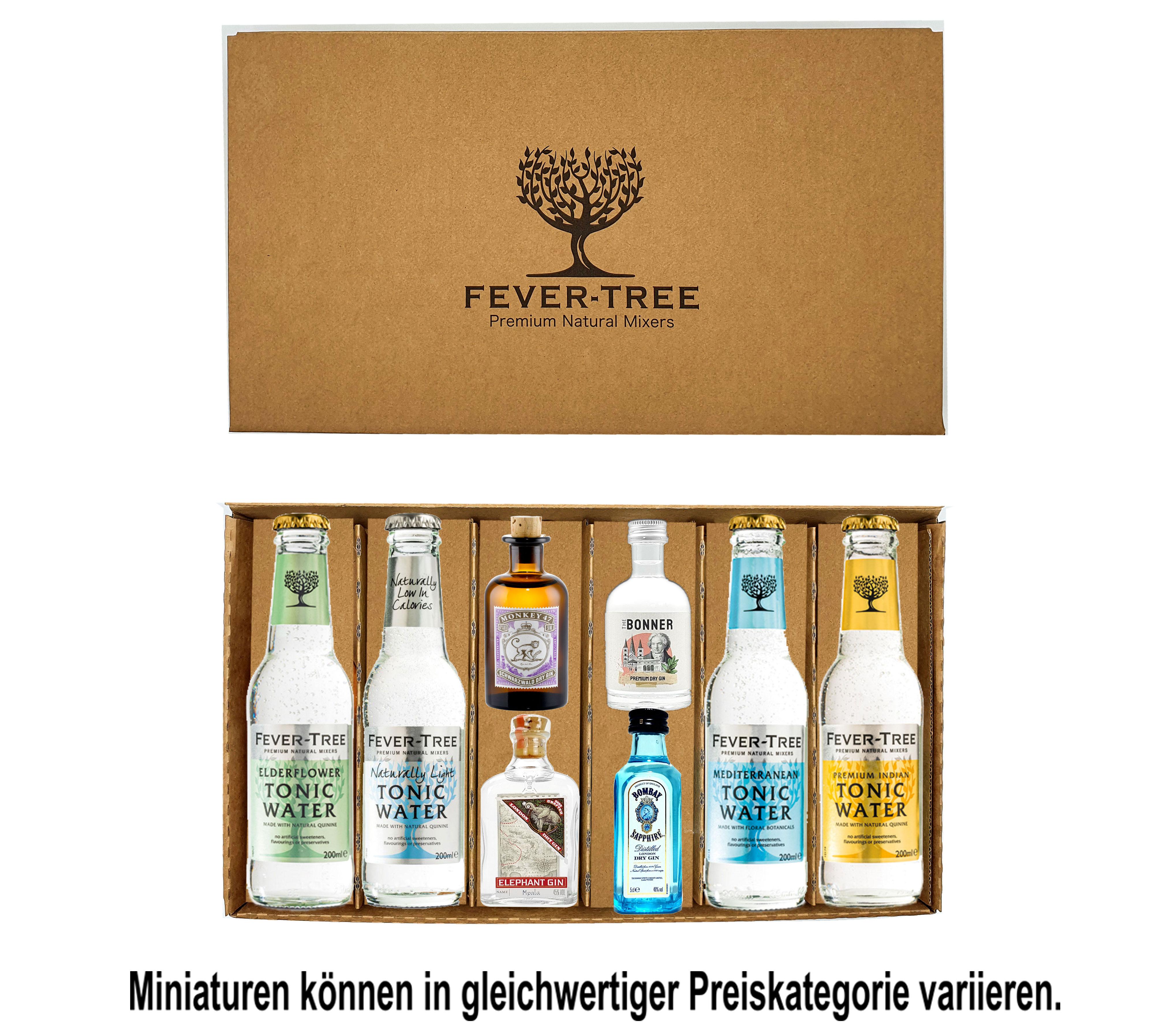 Fever-Tree Gin Tonic Geschenkset - 4x verschiedene Mini Gins + 4x Fever-Tree verschiedene Tonic Water - Inkl. Pfand MEHRWEG