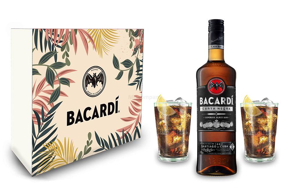 Bacardi Geschenkset - Bacardi Carta Negra Rum 0,7l 700ml (40% Vol) + 2er Set Gläser - Longdrink Glas- [Enthält Sulfite]