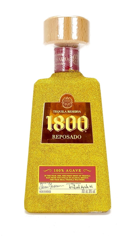 Jose Cuervo Essential 1800 Reposado Tequila 0,7l 700ml (38% Vol) - Bling Bling Glitzer Glitzerflasche Flaschenveredelung für besondere Anlässe - Gold -[Enthält Sulfite]