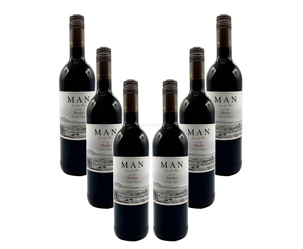 MAN Rotwein - 6er Set - 6x 0,75L (14% Vol) - Jan Fiskaal Merlot - Südafrika- [Enthält Sulfite]