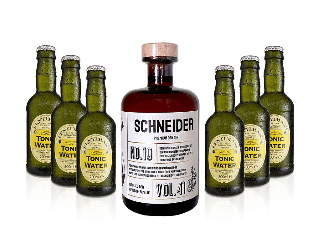 Mein Gin - Schneider Premium Dry Gin 0,5l (41% Vol) - Schneider s Gin No.19 + 6x Fentimans Tonic Water 200ml inkl. Pfand MEHRWEG -[Enthält Sulfite]