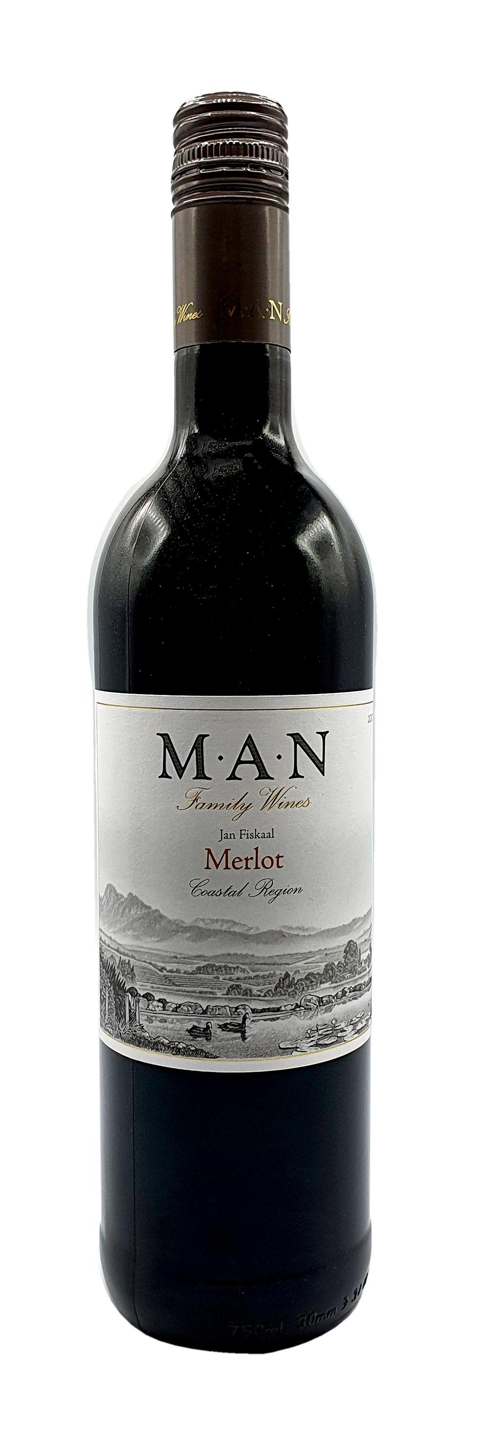 MAN Rotwein 0,75L (14% Vol) - Jan Fiskaal Merlot - Südafrika- [Enthält Sulfite]