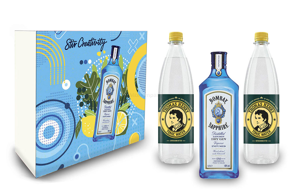 Bombay Sapphire Gin Tonic Set / Geschenkset - Bombay Sapphire London Dry Gin 0,7l 700ml (40% Vol.) + 2x Thomas Henry Tonic Water 1000ml - Inkl. Pfand MEHRWEG