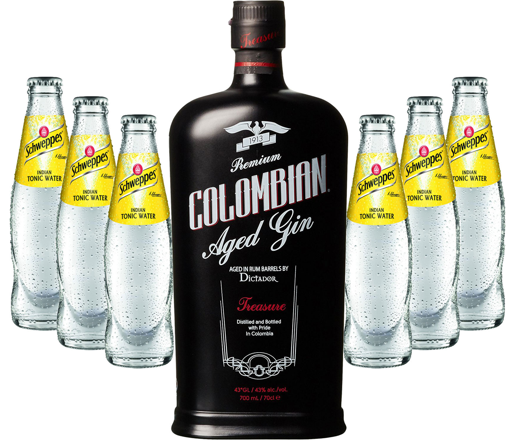 Gin Tonic Set - Dictador Colombian Aged Gin Black 0,7l 700ml (43% Vol) + 6x Schweppes Tonic Water 200ml inkl. Pfand MEHRWEG -[Enthält Sulfite]