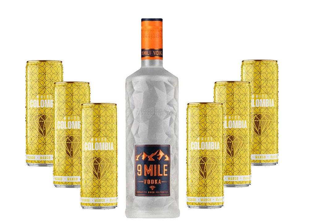 9 Mile Vodka Wodka Set - 9 Mile Vodka Wodka 0,7l (37,5% Vol) + White Colombia Mango Set - Erfrischungsgetränk mit Mango-Maracuja-Geschmack - 6x 250ml inkl. Pfand EINWEG- [Enthält Sulfite]