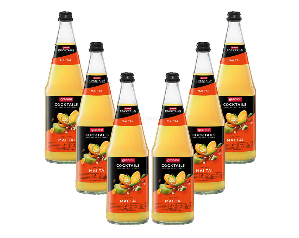 Granini Mai Tai - 6er Set Granini Alkoholfreier Cocktail - 6x Mai Tai Alkoholfrei 1L inkl. Pfand MEHRWEG