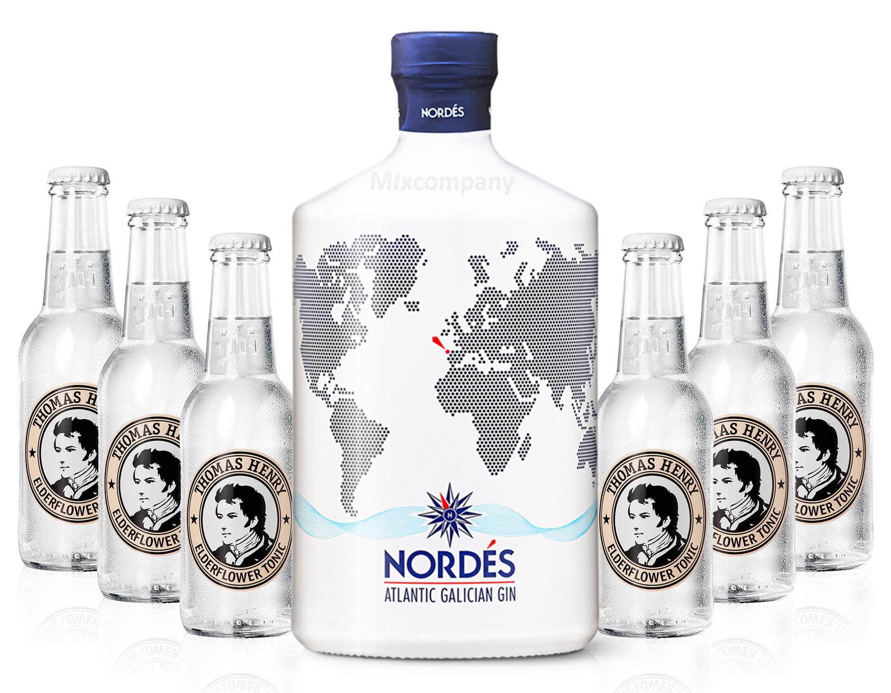 Nordes Atlantic Galician Gin aus Galizien 0,7l (40% Vol) + 6x Thomas Henry Elderflower Tonic Water 0,2l MEHRWEG inkl. Pfand- [Enthält Sulfite]