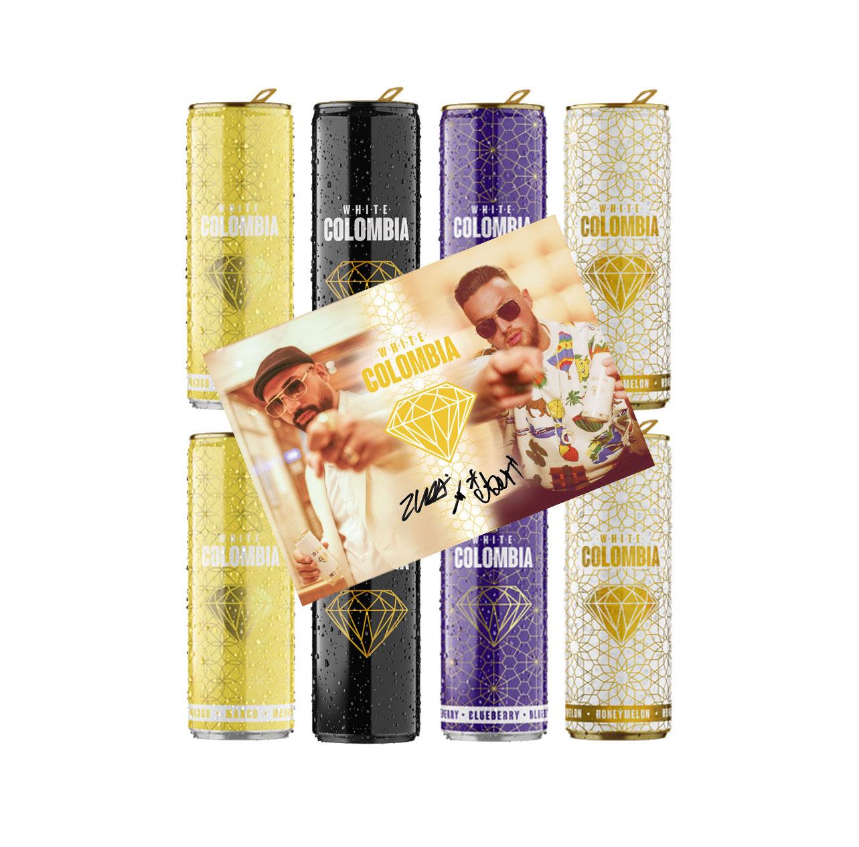 White Colombia 8er Tasting Set - 2x Honeymelon + 2x Classic + 2x Blueberry + 2x Mango je 250ml mit digitalisierter Autogrammkarte inkl. Pfand EINWEG Probierset