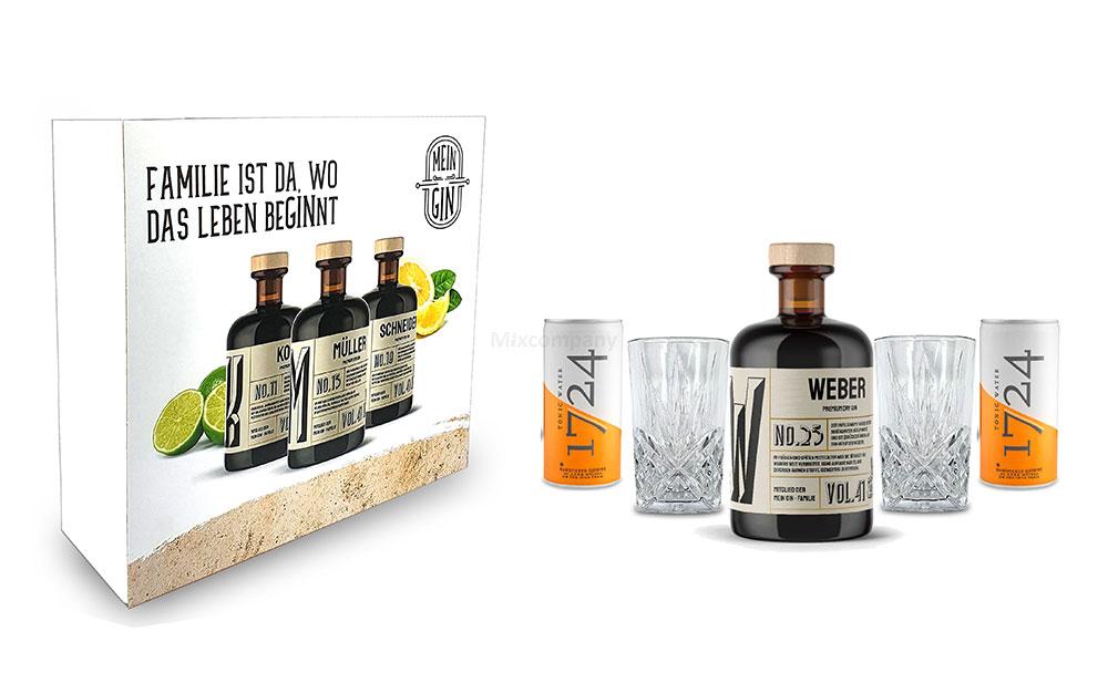 Mixcompany Geschenkset - Mein Gin / Gin Tonic Set - Weber No 25 Gin 0,5L (41% Vol) + 2x Longdrink Glas in Kristall Optik + 2x 1724 Tonic Water Dose 200ml inkl. Pfand EINWEG - [Enthält Sulfite]
